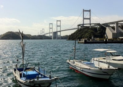 Boats next to the Shimanami Kaido