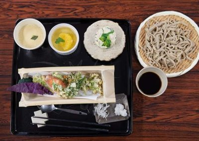 Soba noodles in a Japanese cooking class