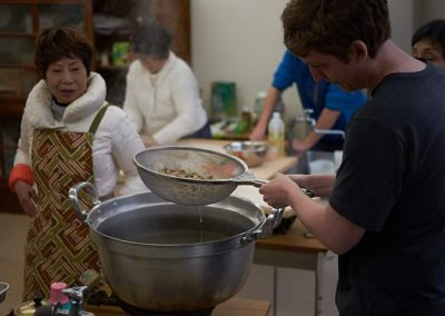 Making soba noodles in a Japanese cooking class with locals