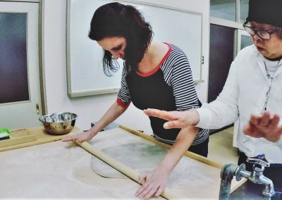 Learning to make soba noodles in a Japanese cooking class in Shikoku