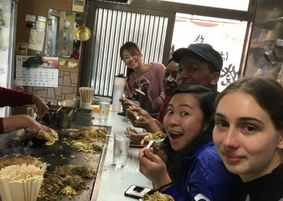 Eating Okonomiyaki on the Matsuyama Tour