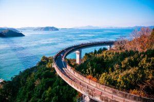Cyclists on the Shimanami Kaido