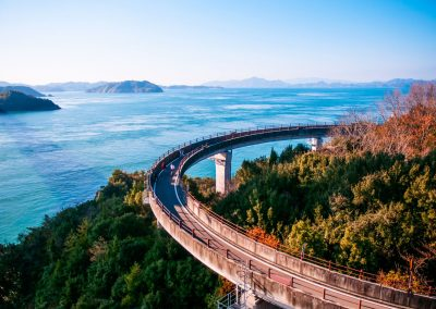Cyclists on the Shimanami Kaido