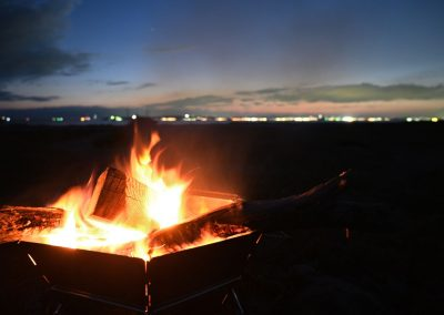 Campfire on a beach in Shikoku