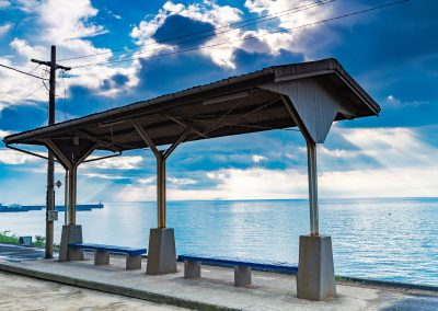 A train station by the sea in Shikoku