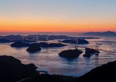 Night view of the Shimanami Kaido from Kirosan