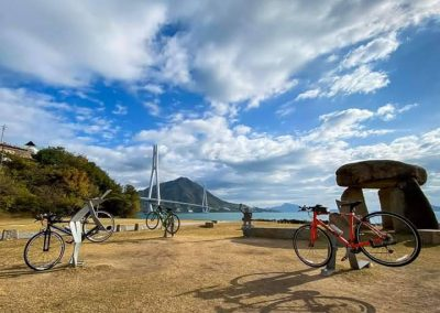 Bikes in front of the Shimanami Kaido